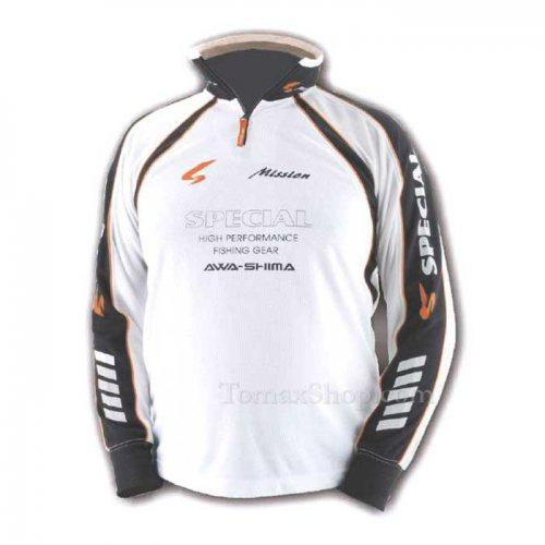 Бяла спортна блуза с яка AWA-SHIMA S-MISSION - Риболовни принадлежности TomaxShop ®