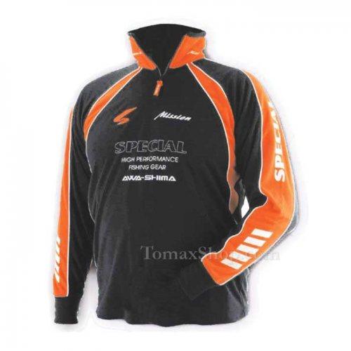 Черна спортна блуза с яка AWA-SHIMA S-MISSION - Риболовни принадлежности TomaxShop ®