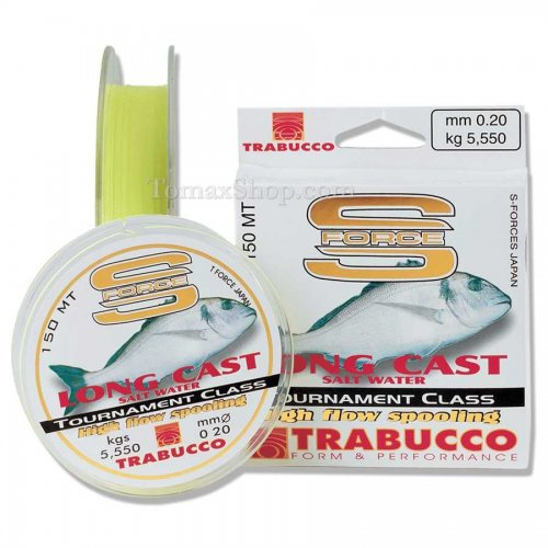 TRABUCCO S-FORCE LONG CAST SALT WATER 150m, монофилно влакно - Риболовни принадлежности TomaxShop ®