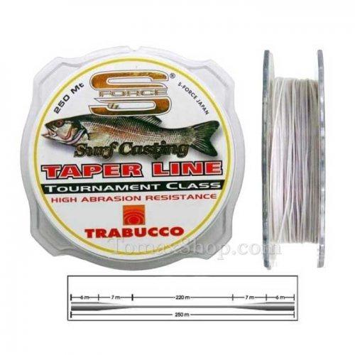 TRABUCCO S-FORCE SURF CASTING TAPER LINE 250m 0.26>0.57, монофилно тапер влакно - Риболовни принадлежности TomaxShop ®